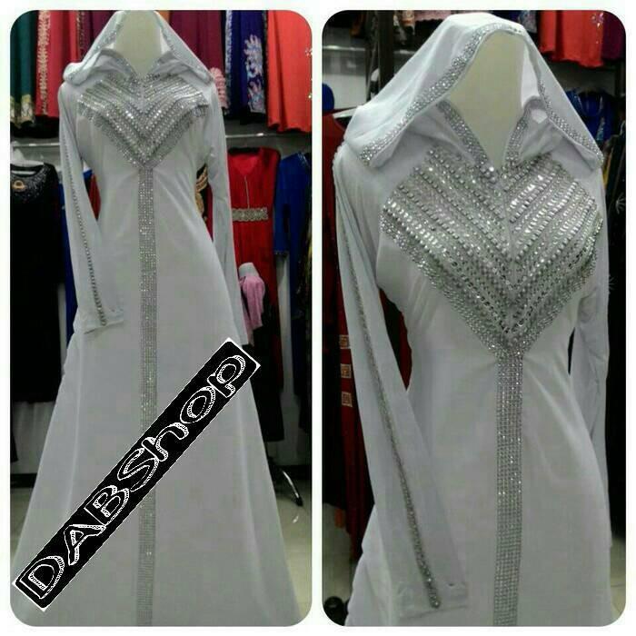 harga Abaya gamis jubah hoodie syahrini putih Tokopedia.com