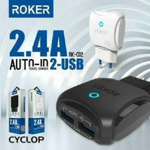 Foto Produk Charger Roker USB 2 OUTPUT 2.4A + Kabel Micro - Putih dari BlackBerry Queen Shop