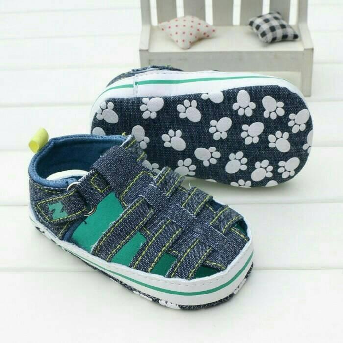 harga Sepatu prewalker bayi laki-laki import blue jeans sandal jala klasik Tokopedia.com