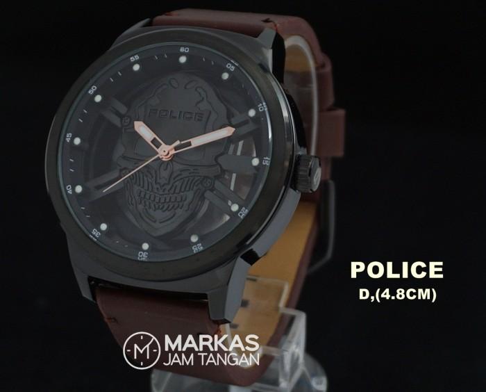 ... Jam tangan pria police predator men s skull leather strap watch