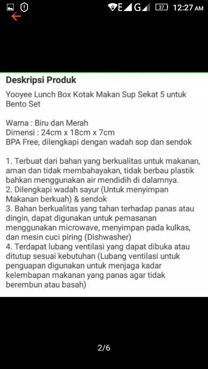 Jual Tempat Kotak Makan 4 Sekat Lunch Box Yooyee Soup Bpa Free Bs Sup Microwave