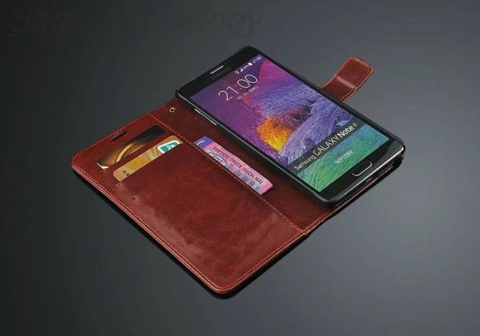 harga Samsung galaxy note 4 leather case casing kulit flip wallet cover - cokelat Tokopedia.com