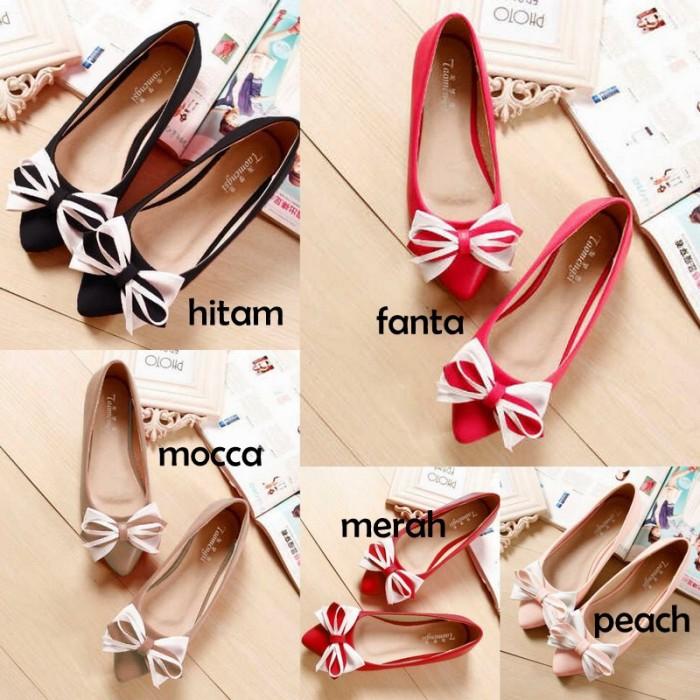 Sandal Sepatu Wanita Cewe Flat Shoes Pita Indah Murah