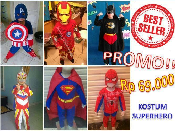 Promo !! baju anak kostum superhero dengan topeng - baju superhero