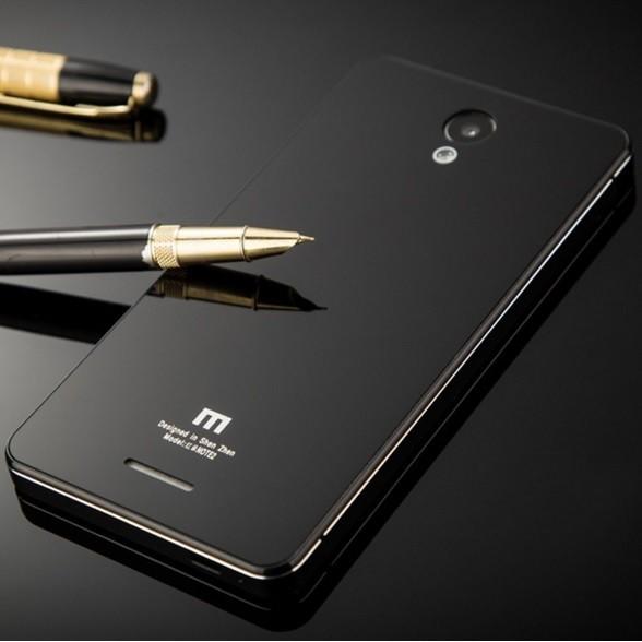 Aluminium Tempered Glass Hard Case for Xiaomi Redmi Note 2 Backdoor - Emas