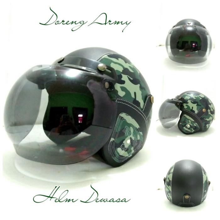 Helm Bogo Retro Kulit Klasik SNI Motif Doreng Army