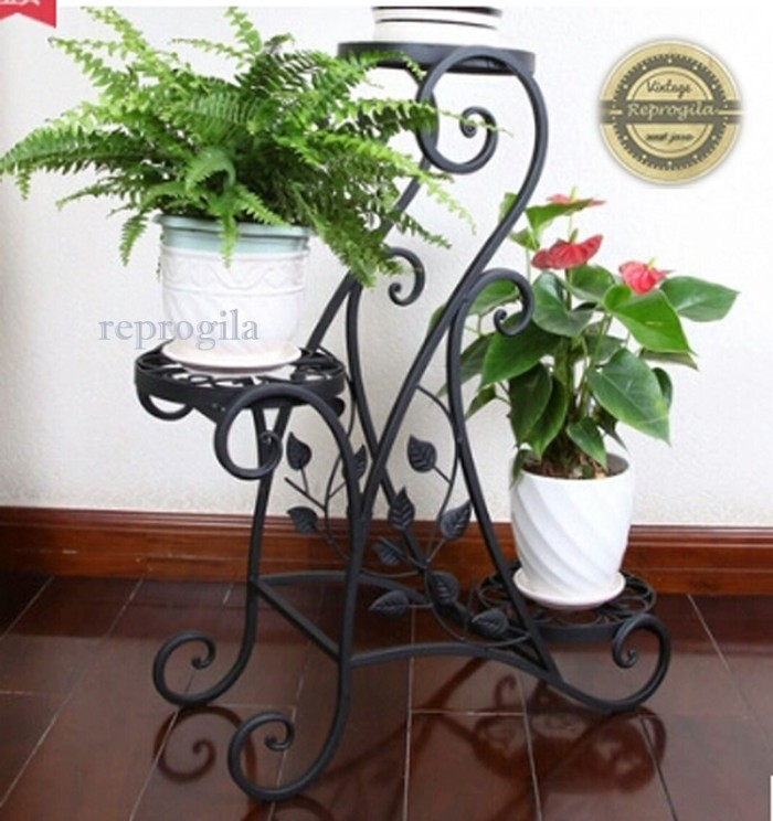 Rak Pot Bunga,Dekorasi Vintage, Rak Tanaman Hias, Rak Minimalis. - Putih