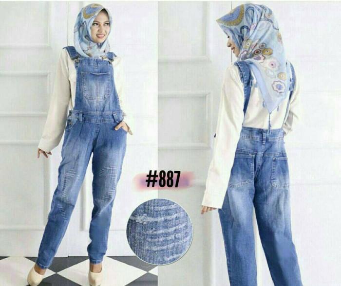 Jual Overall Jeans Hijab Jumbo Celana Kodok Panjang Ripped Xxxl Xxl