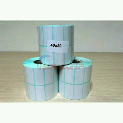 harga Kertas stiker label barcode semicoat 40x20mm printer transfer thermal Tokopedia.com