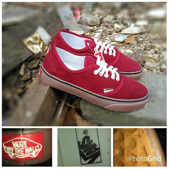 sepatu vans authentic maroon gum