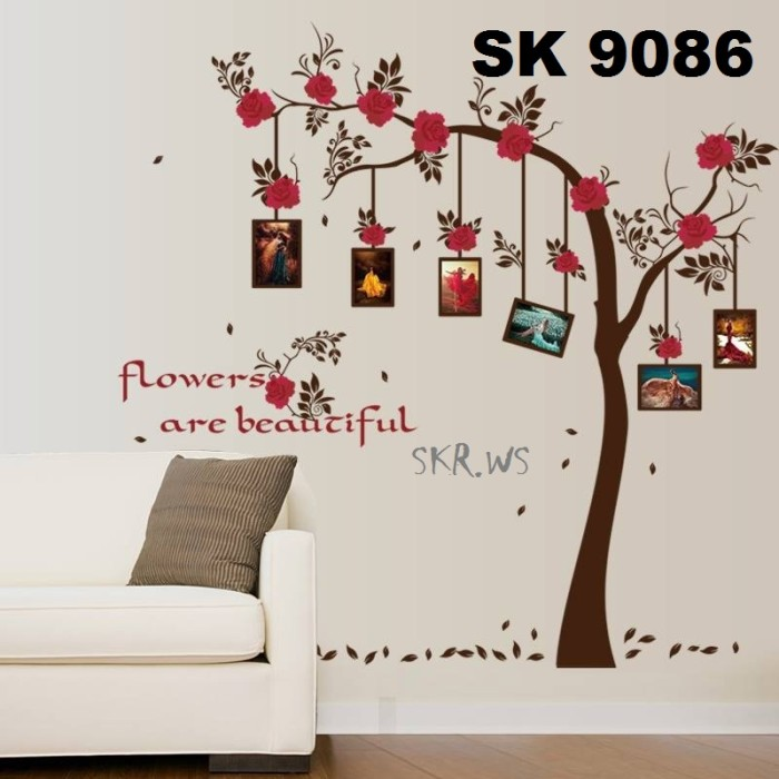jual stiker dinding / wall sticker motif pohon frame foto - kota