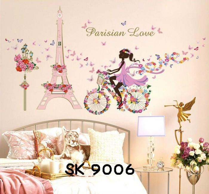 jual wallsticker/wall stiker-60x90-sk9006-flowers girl paris tower