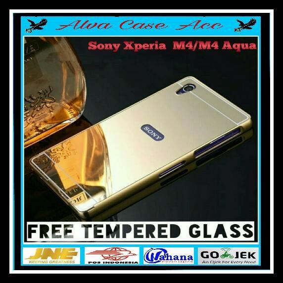 Paket Hemat Sony Xperia M4 Aqua Bumper Mirror Alumunium+tempered Glass .