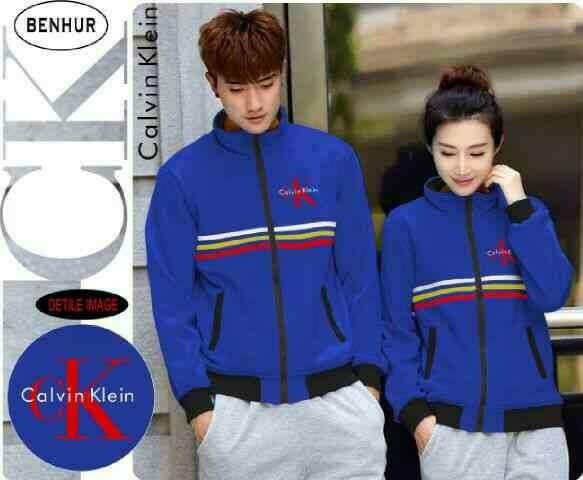 Couple Pasangan Jaket Sweater CK Benhur Stripe Blue Biru Calvin