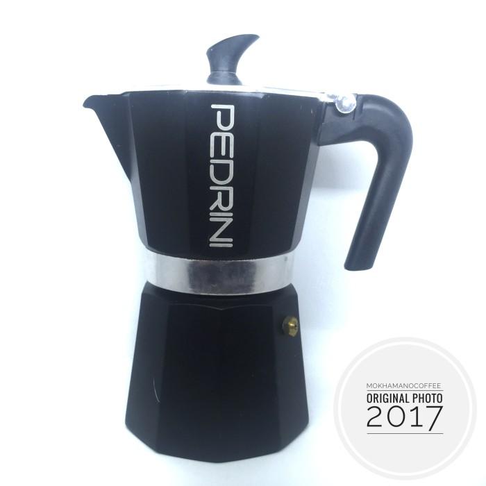 harga Pedrini aroma enamel coffee/teko kopi/moka pot alumunium 6 cup black Tokopedia.com