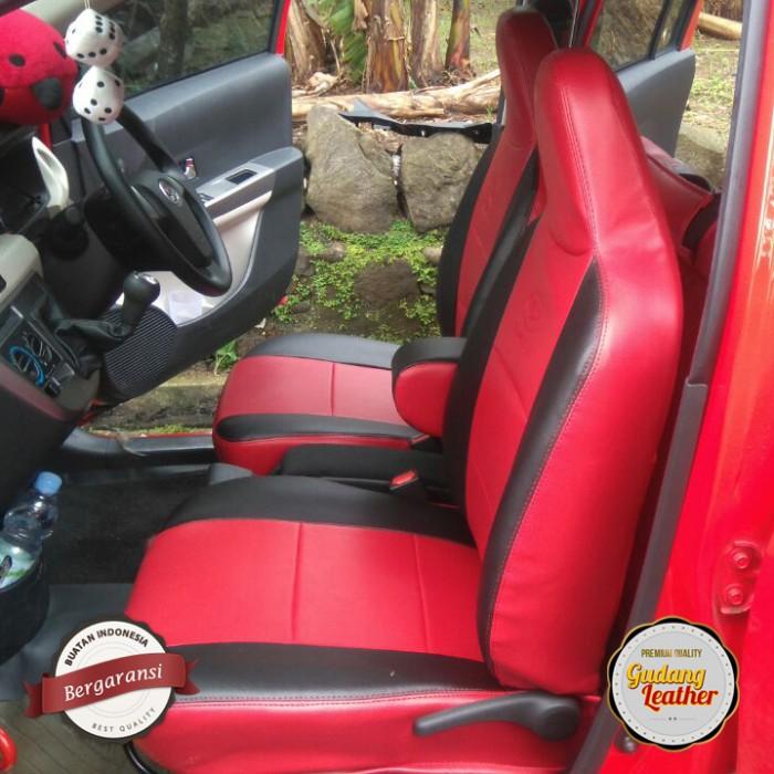 Sarung jok mobil calya ferari merah hitam