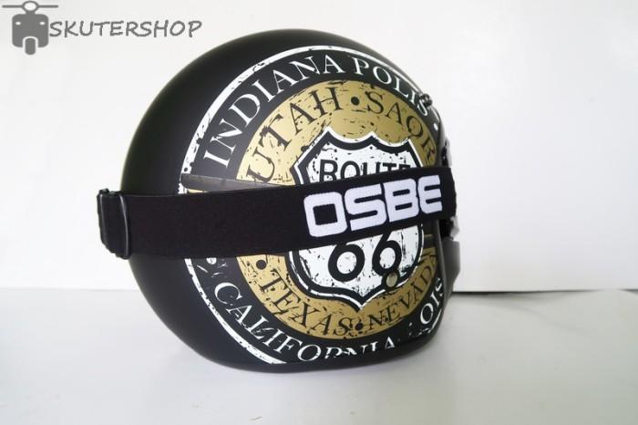 Helm Bogo JPN Retro Klasik Route 66 Gold Black Doff + OSBE Goggle Mask 2