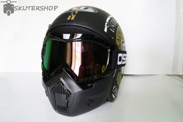 Helm Bogo JPN Retro Klasik Route 66 Gold Black Doff + OSBE Goggle Mask 1