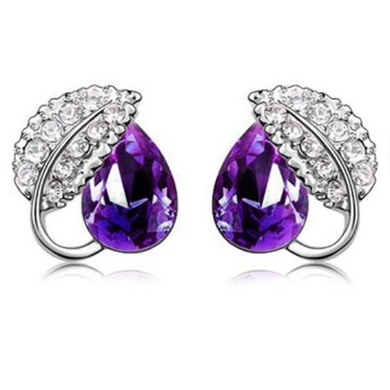 Acacia Leaves Crystal Earrings 925 Sterling Silver / Anting Wanita - P