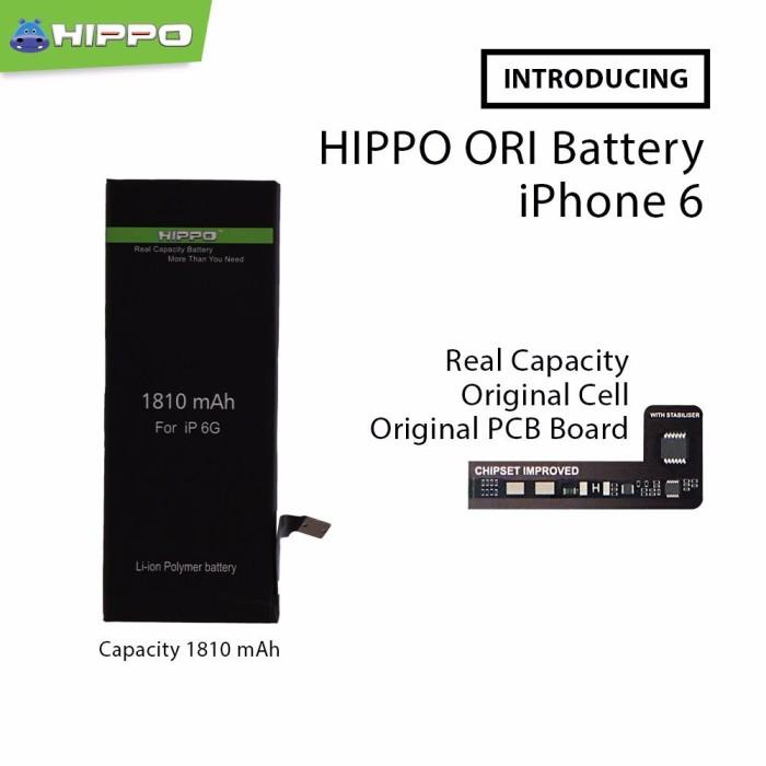 Foto Produk Hippo baterai iphone 6 1810 MAH Original Premium Cell Quality dari Hippo Power Bank