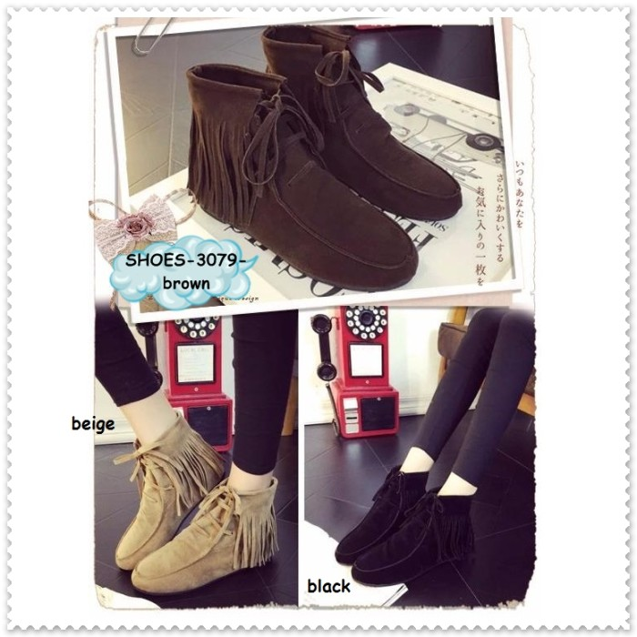 Ankle boots boot cewek wanita rumbai korea sepatu flat shoes import