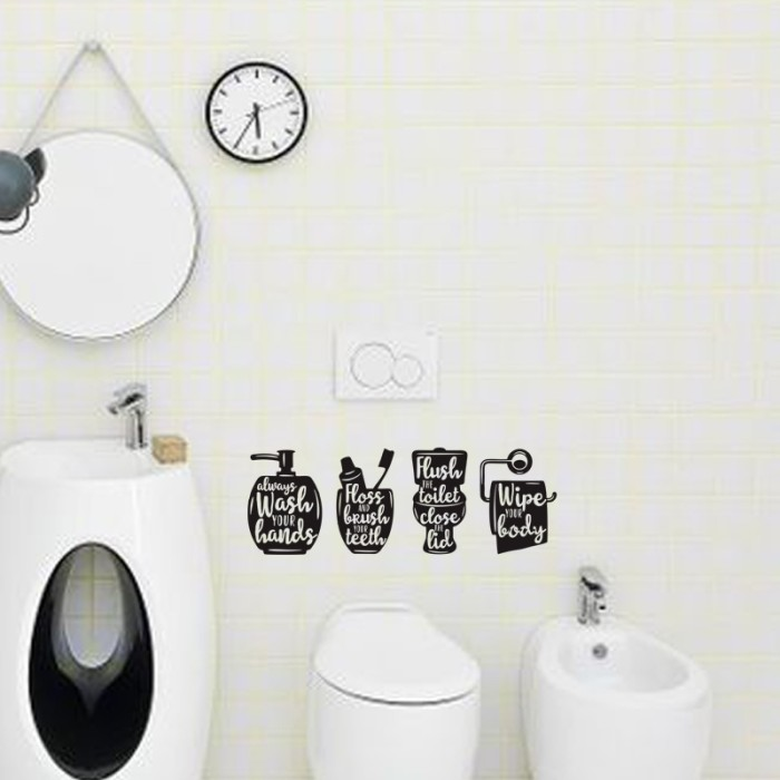 Sticker toilet rules wc stiker kamar mandi rumah cafe bathroom