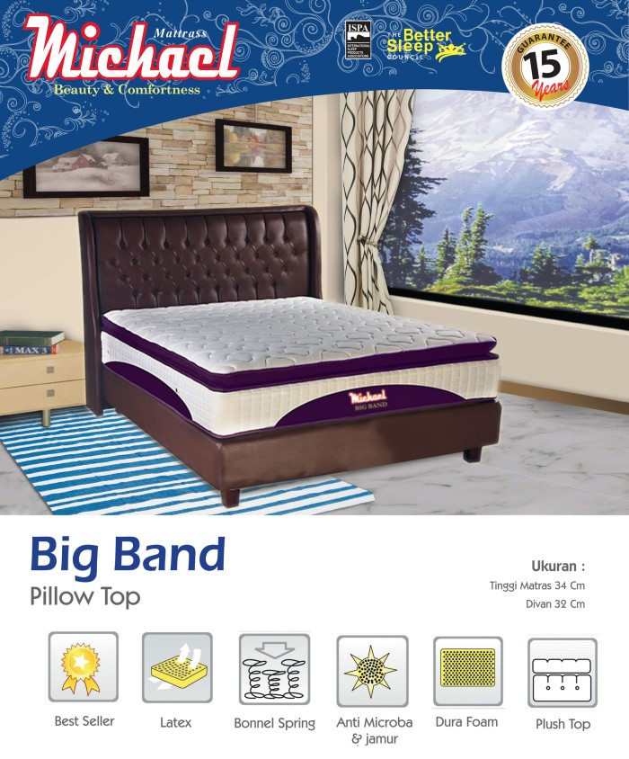 harga Spring bed kasur big band michael pillow top latex Tokopedia.com