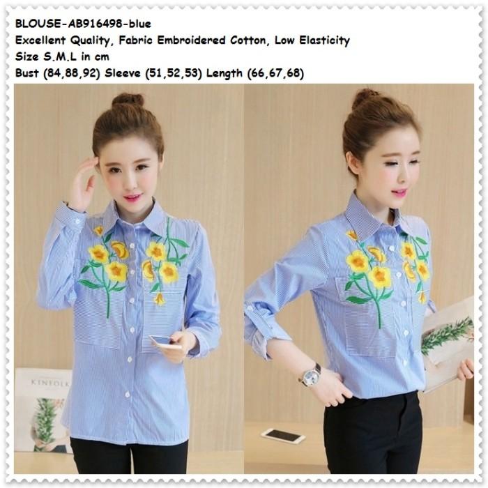 harga Baju atasan kerja kemeja biru garis bordir blouse wanita korea import Tokopedia.com