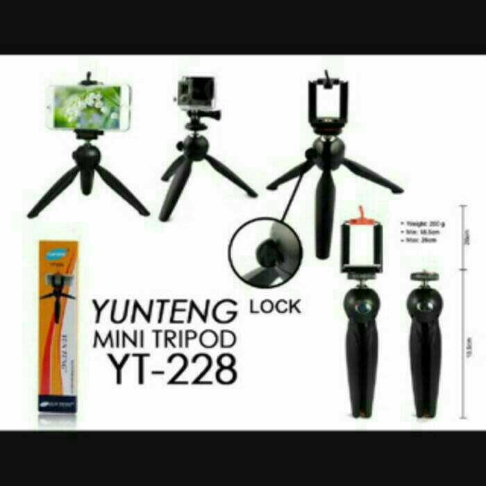 Mini tripod yunteng yt-228 plus holder u ready jg powerbank ultra thin