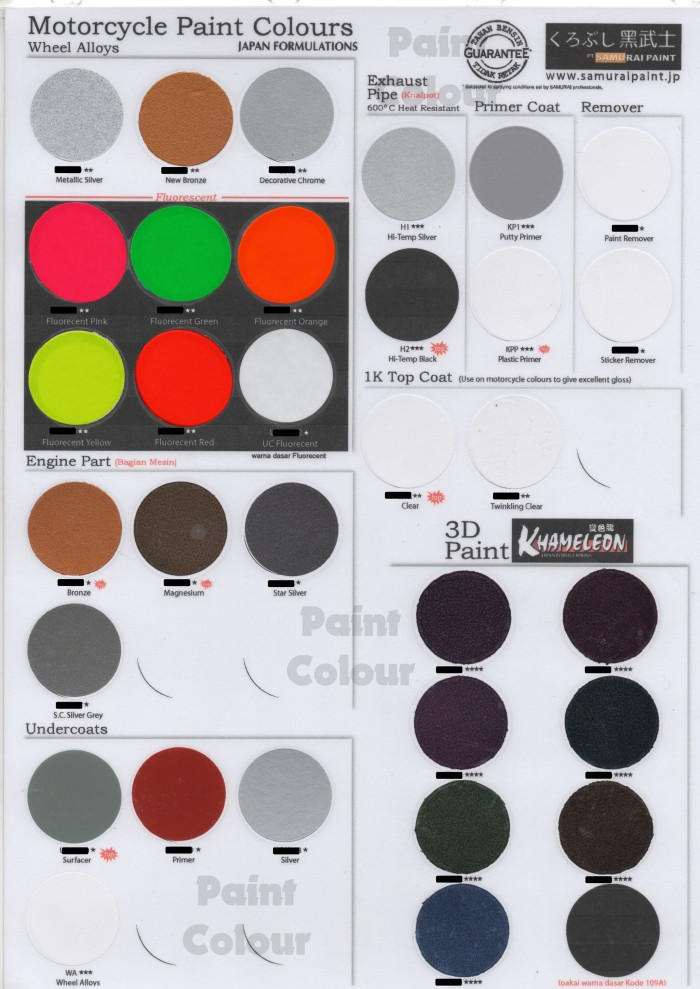 List Warna Cat Samurai