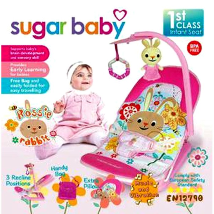 Sugar Baby Fold Up Infant Seat I Love Bear Pink Baby Bouncer