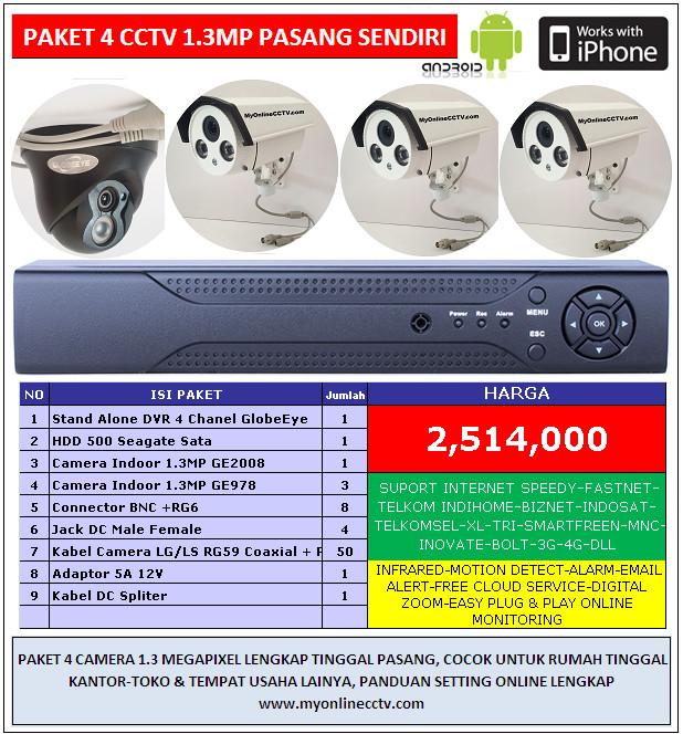 Jual Paket 4 Camera CCTV AHD 1.3 MP Online Speedy Telkom Indihome ...