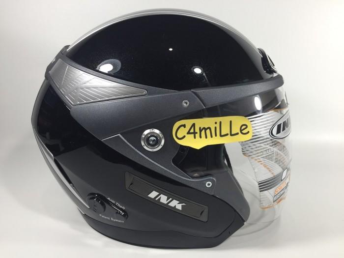 harga Helm ink metalico solid black double visor half face Tokopedia.com