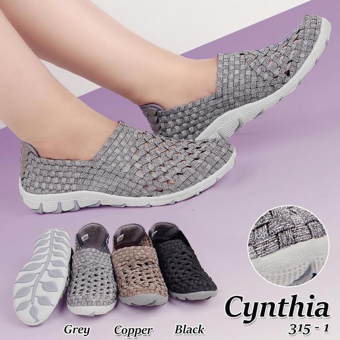Sepatu flat rajut anyaman anyam cynthia type 315-1