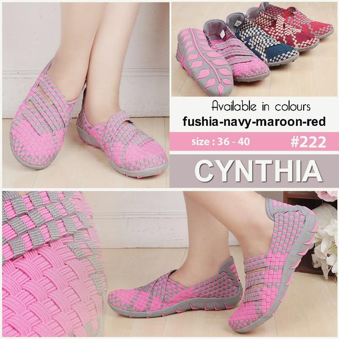 Sepatu flat rajut anyaman anyam cynthia type 222