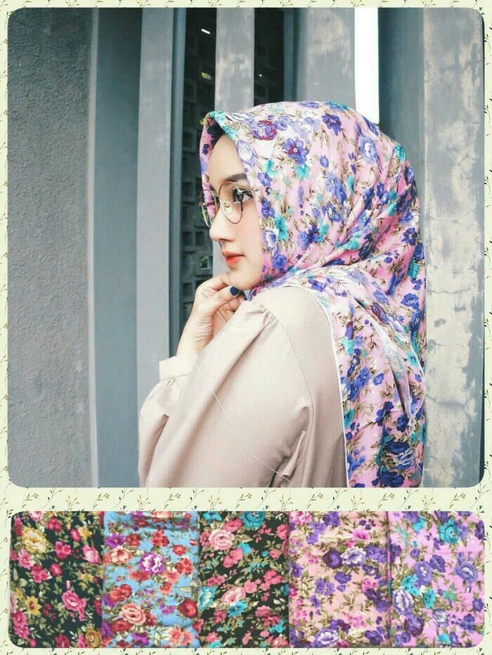 Jilbab/hijab segiempat motif bunga/shabby chic zara 1 terbaru