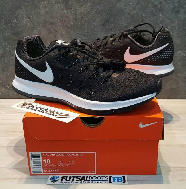 70ad89dbbf35 Jual Nike Air Zoom Pegasus 33 - Black White (831352 001) - Kab ...
