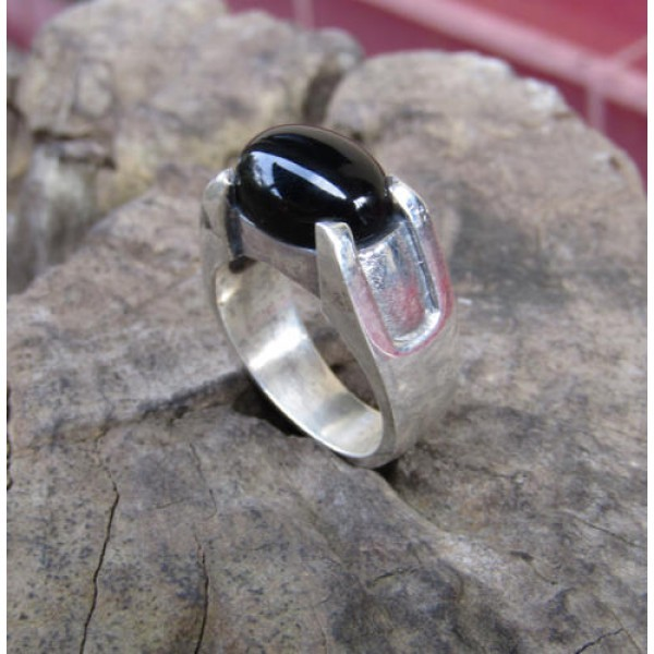 Cincin perak motif simpel batu black onyk 100301