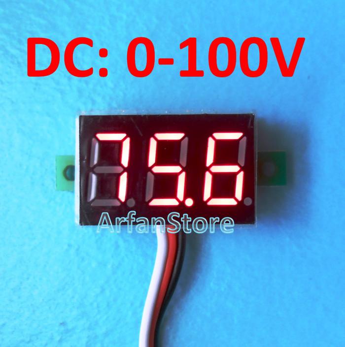 harga 0-99.9v dc mini voltmeter digital volt meter display merah 3 kabel Tokopedia.com