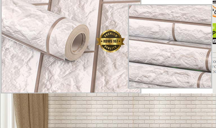 jual wallpaper sticker bata putih 3d - rdws 167 harga promo - kota