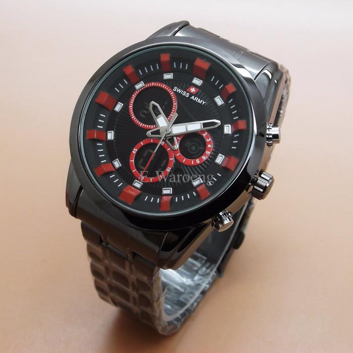 Swiss Army Dual Time Jam Tangan Pria Sa 1502 Full Black Stainless Source .