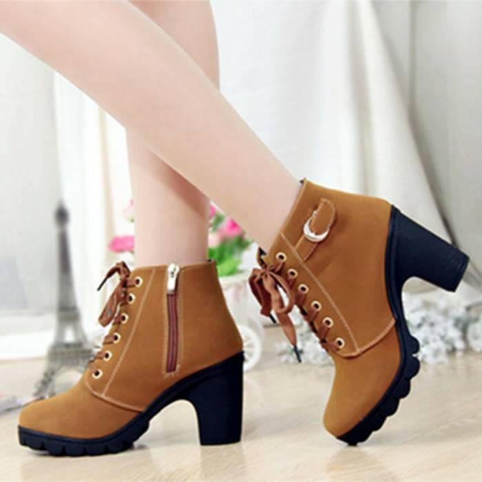 harga Sepatu boots heels wanita / warna tan (coklat) dan hitam Tokopedia.com