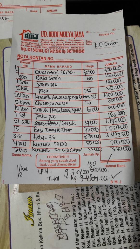 Jual Bahan Bangunan Pesanan Dki Jakarta Tb Budi Mulya Jaya Tokopedia