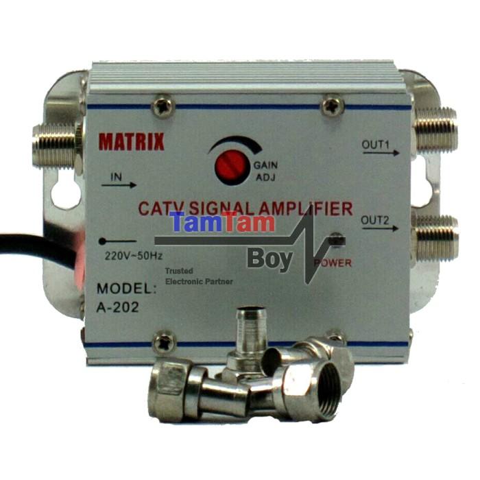 harga Penguat sinyal tv (catv signal amplifier) / booster indoor + 2 way splitter matrix Tokopedia.com