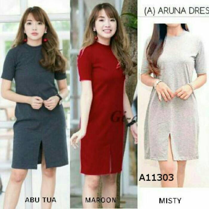 mini dress wanita bodycon olla ramlan polos casual santai simpel