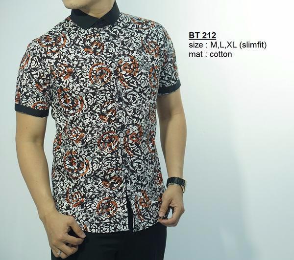 Jual Baju Batik Pria Model Slim Fit Bt212 Bahan Katun Halus Ready