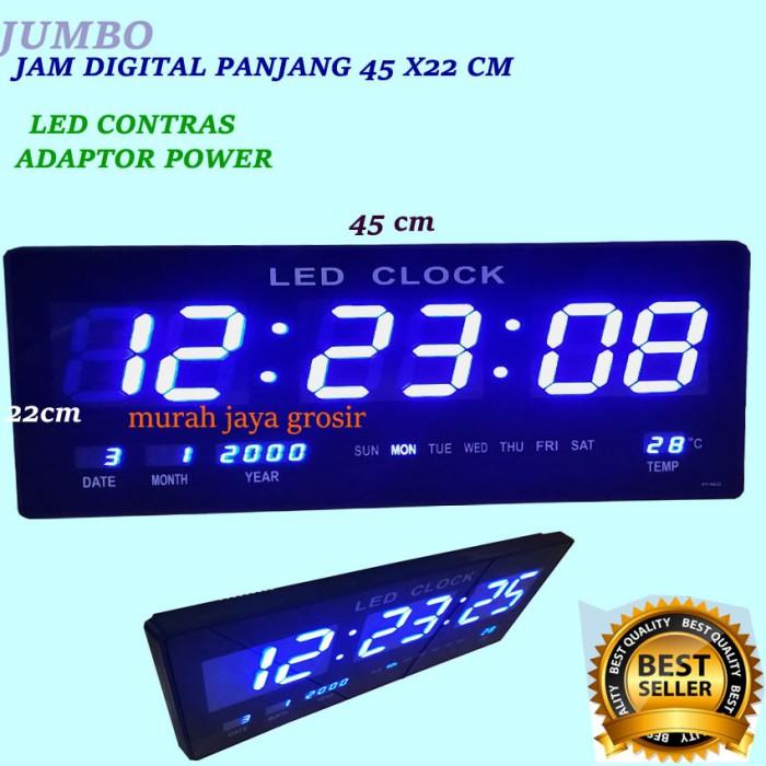 Jual Jam dinding Digital besar plus adaptor 23 X45cm LED BIRU ... a9165bf061