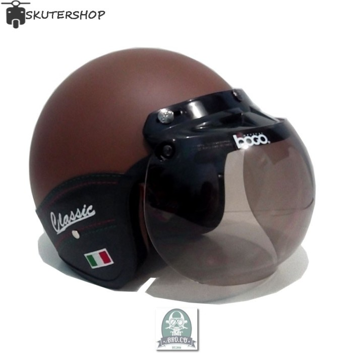 Helm Bogo Semi Kulit Retro Klasik Young Brown Doff 1