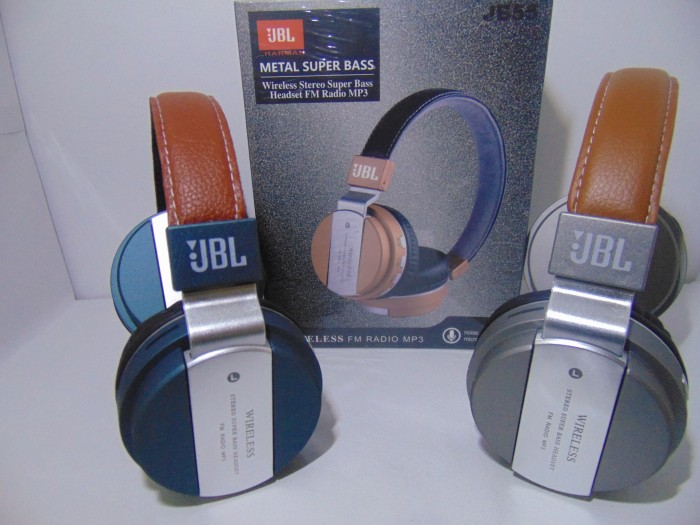 331628a559d Headset Bluetooth Stereo JBL JB55 Metal Super Bass ( Leather ) With Fm