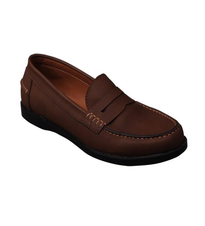 e00854efed1 Sepatu Slip On Boat Shoes Kulit Pria Murah - Footstep Paradise Brown -  Hitam